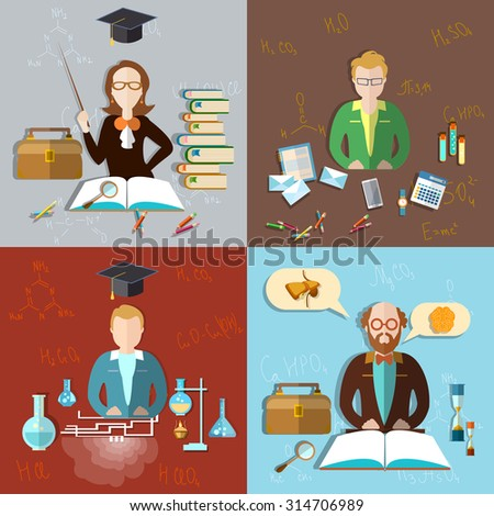 Education concept teacher classroom students professor exams teaching school college university chemistry physics mathematics algebra icon set - stock photo