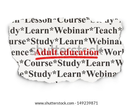 Education concept: torn newspaper with words Adult Education on Paper background, 3d render