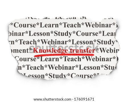 Education concept: torn newspaper with words Knowledge Transfer on Paper background, 3d render - stock photo