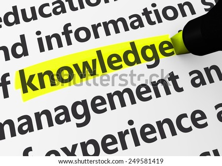 Education concept with a 3d rendering of related words and knowledge text highlighted with a yellow marker. - stock photo