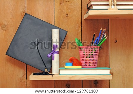 education concept with apple, book and magnifying - stock photo