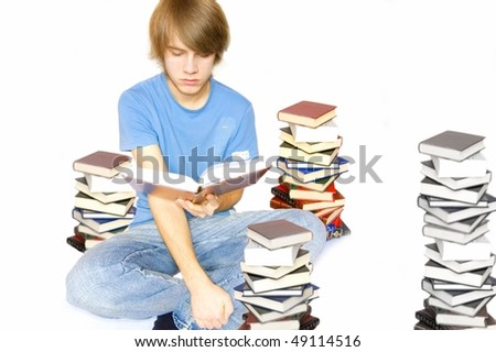 Education conceptual image. The student is preparing for the test on a white background.