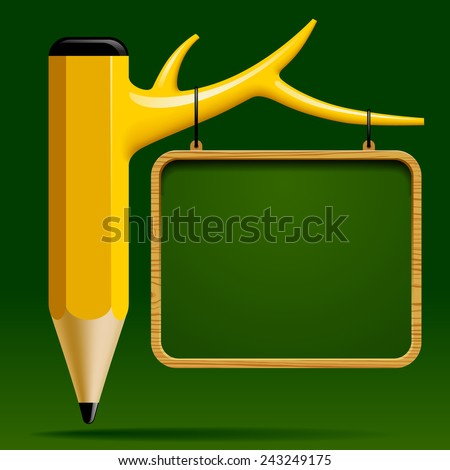 Education design with Tree pencil and Blackboard on green background. Back to school concept. - stock photo
