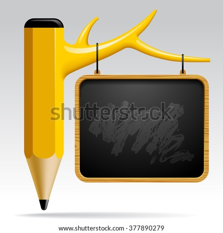 Education design with Tree pencil and Blackboard with a growing bar graph. Back to school concept - stock photo