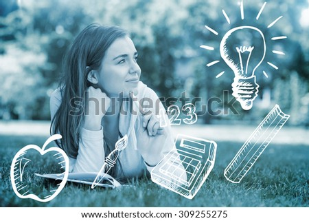 Education doodles against smiling university student lying and thinking - stock photo