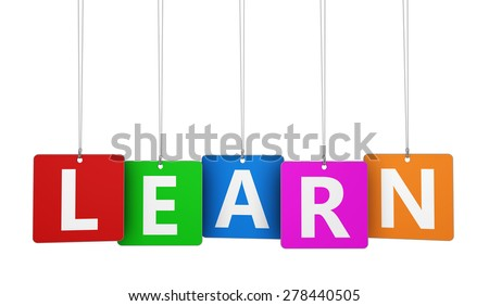 Education, e-learning business, school and training concept with learn word and sign on colourful tags isolated on white background. - stock photo
