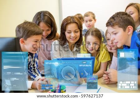 Technology In Elementary Classrooms : Education elementary school learning technology people stock photo