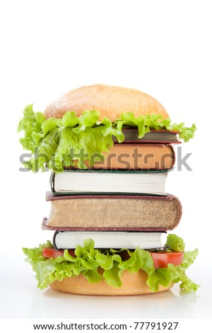 Education fast food concept represented by burger with books on green background - stock photo