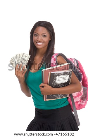 education financial aid Ethnic black African-American college student holds pile 100 (one hundred) dollar bills happy getting money help to subsidies costly university cost - stock photo