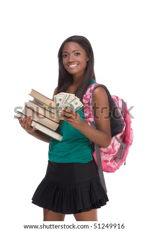 education financial aid Ethnic black African-American college student holds pile 100 (one hundred), 50 (fifty) and 20 (twenty) euro bills banknotes happy for money help to subsidize university cost - stock photo