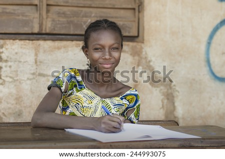 Education for African Children Symbol - Writing A Peace Letter - stock photo