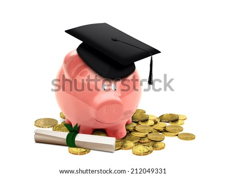 Education Fund with Piggy Bank - stock photo