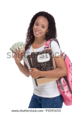 education fundraiser financial aid Ethnic black African-American college student holds pile 20 (twenty) dollar bills happy getting money help to subsidies costly university cost - stock photo
