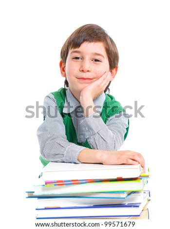 Education - funny boy with books. Isolated over white background. - stock photo