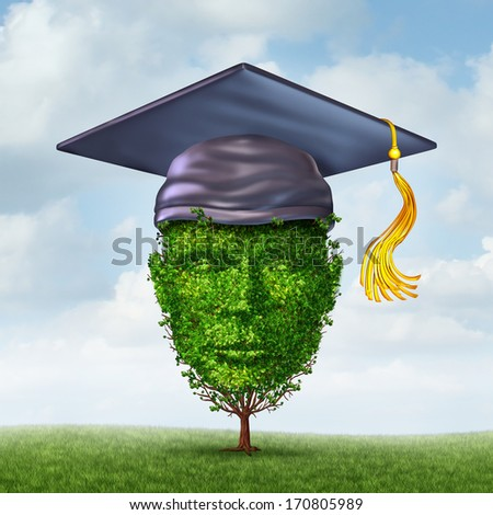 Education growth concept as a graduation cap or mortar board on a tree shaped as a human head as a symbol of growing career potential through skill learning or environmental studies. - stock photo