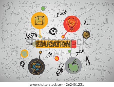 education icons on a gray background - stock photo
