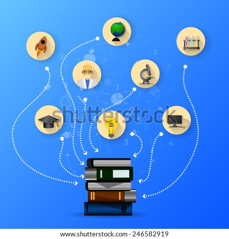 education infographic with book stack and icons - stock photo