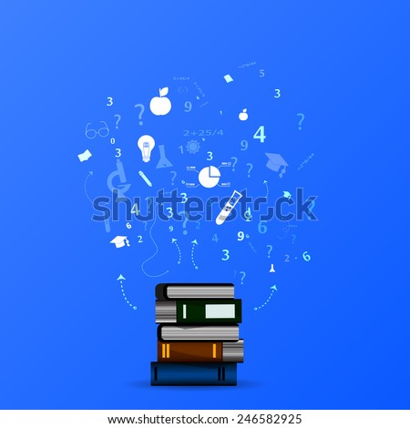 education infographic with book stack and icons on blue background. - stock photo