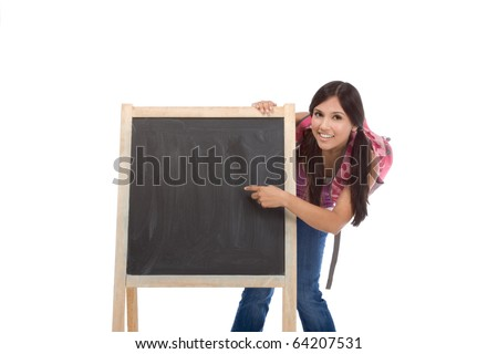 education - Latina college student with backpack pointing to Copy space board - stock photo