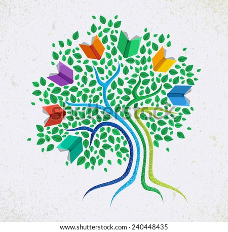 Education learning and growth concept with colorful abstract tree book illustration - stock photo