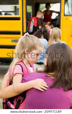 Education: Little Girl Scared To Go To School - stock photo