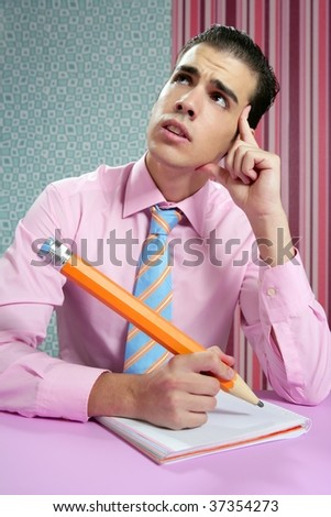 Education metaphor, student young businessman with big pencil - stock photo