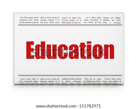 Education news concept: newspaper headline Education on White background, 3d render - stock photo