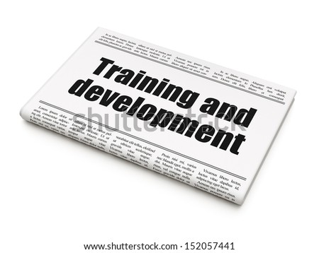 Education news concept: newspaper headline Training and Development on White background, 3d render - stock photo
