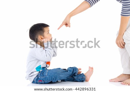 Education of the child. mother scolds her child boy. family relationships - stock photo