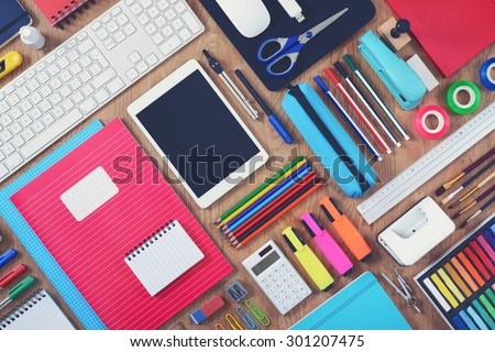 Education or school tablet mockup background - stock photo