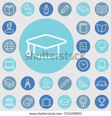 education outline, thin, flat, digital icon set for web and mobile