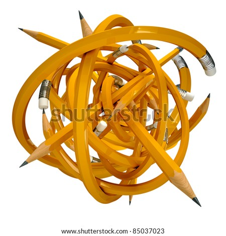 Education pencil confusing ball 3d render - stock photo