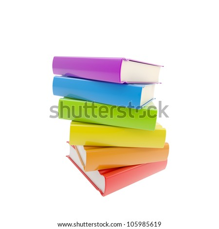 Education: pile of rainbow colored glossy books isolated on white