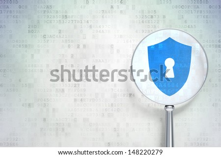 Education protection concept: magnifying optical glass with Shield With Keyhole icon on digital background, empty copyspace for card, text, advertising, 3d render - stock photo
