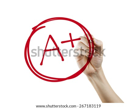 education rating A plus written by hand over white background - stock photo