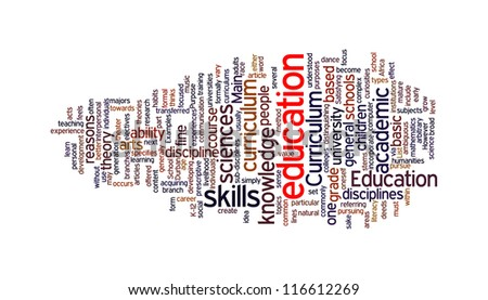 Education related word in tag cloud on white background - stock photo