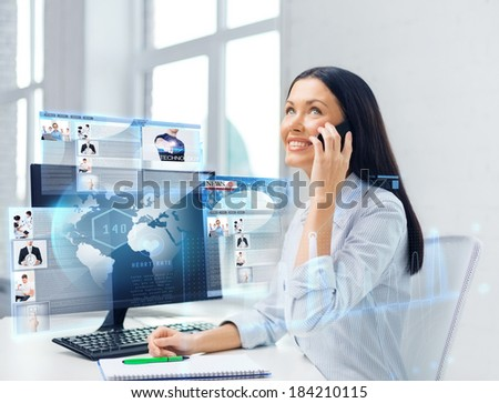 education, school, business, communication and technology concept - smiling businesswoman or student with smartphone talking