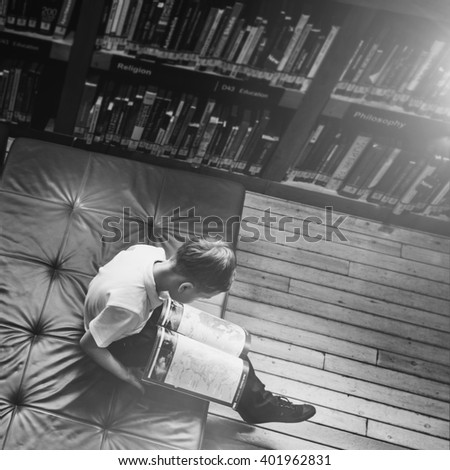 Education School Student Reading Library Learning Concept - stock photo