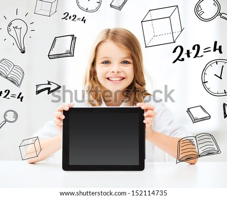 education, school, technology and internet concept - little student girl with tablet pc at school - stock photo