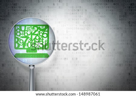 Education security concept: magnifying optical glass with Computer Pc icon on digital background, empty copyspace for card, text, advertising, 3d render - stock photo