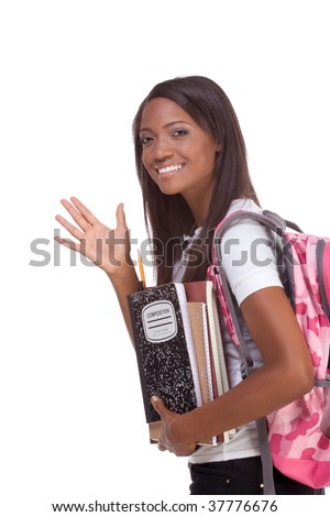 education series - Friendly ethnic black female high school student with backpack and composition book, gesturing and greeting
