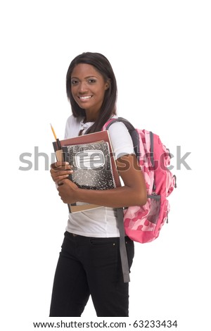 education series - Friendly ethnic black female high school student with backpack and composition book - stock photo