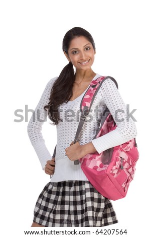 education series - Friendly ethnic Indian female high school student with backpack