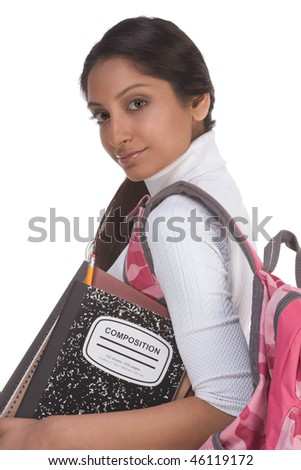 education series - Friendly ethnic Indian female high school student with backpack and composition book - stock photo