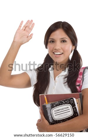 education series - Friendly ethnic Latina female high school student with backpack and composition book, gesturing and greeting - stock photo