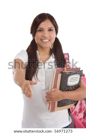 education series - Friendly ethnic Latina female high school student with backpack and composition book greeting you - stock photo