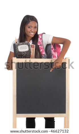 education series template - Friendly ethnic black woman high school student by chalkboard - stock photo