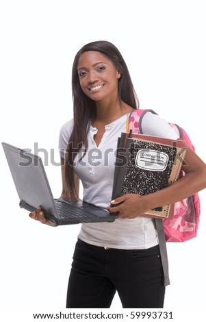 education series template - Friendly ethnic black woman high school student typing on portable computer