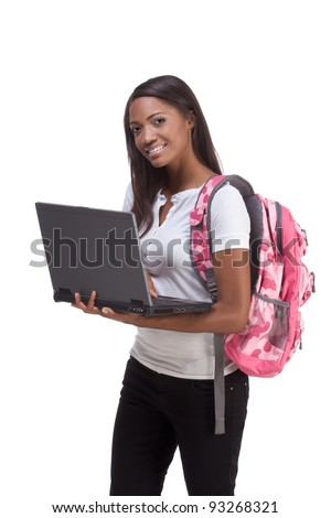 education series template - Friendly ethnic black woman high school student typing on portable computer - stock photo