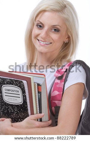 education series - Young blond Caucasian female college or high school student with backpack and composition book